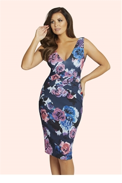 Jessica Wright Cindy Multi Floral Pleat Dress