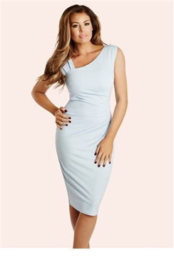 Jessica Wright Toni Pale Blue Ruched Bodycon Dress