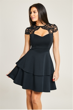 Sistaglam Loves Jessica Wright Sully Petite Black Lace Keyhole Skater Double Tier Dress