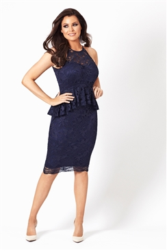 Jessica Wright Selina Navy Lace Midi Dress