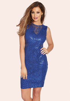 JESSICA WRIGHT VIVIENNE COBALT SEQUIN MIDI DRESS