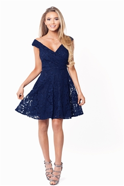 Sistaglam Martina Navy Lace Bardot Prom Dress