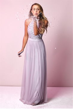 Sistaglam Selena Lilac Chiffon and Sequin Maxi Dress