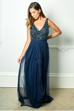 Sistaglam Special Edition Jessica Rose Yasmin Navy Sequin v neck Detailed top Tiered Bridesmaid Dress
