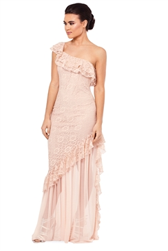 Sistaglam Tamara All Over Nude Embroidered Cami Bodycon Dress
