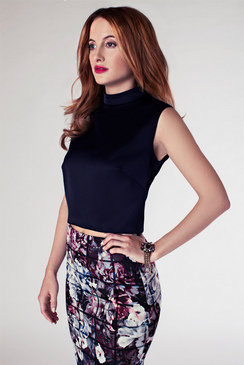 ROSIE FORTESCUE NICE SATIN CROPPED BLOUSE
