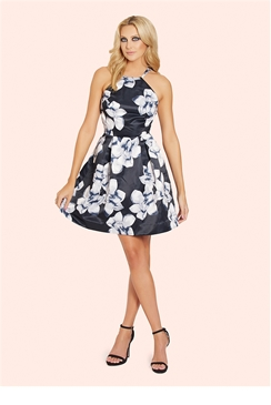Sistaglam Lorna Monochrome Square Neck Skater Dress