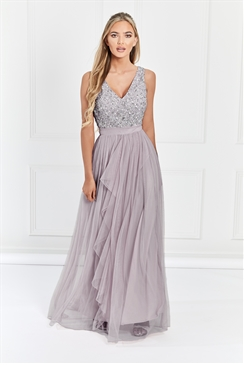 Sistaglam Yasmin lilac Sequin v neck Detailed top Tiered Bridesmaid Dress
