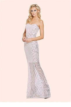 Sistaglam Sage Nude & Silver Sequin Bandeau Bodycon Maxi Dress