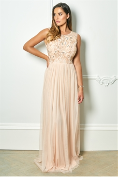 Sistaglam Cindiana blush sleeveless embroidered bodice chiffon maxi skirt