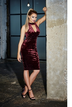 Jessica Wright Roxanne Berry Velvet High Neck Plunge Bodycon Dress