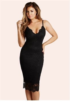 Jessica Wright Harriet Black Scalloped Lace Bodycon Dress