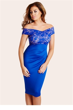 Jessica Wright Carrie Blue Lace Midi Dress