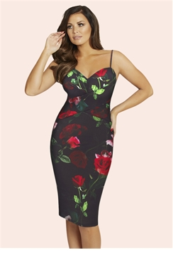 Jessica Wright Black and Red Tessy Floral Dress
