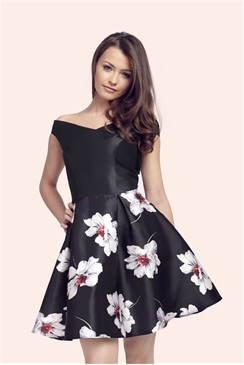 Sistaglam Nadia Black Floral Sateen Prom Dress With Plain Stretch Bardot Top