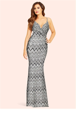 Jessica Wright Stacie Silver Zig Zag Maxi Dress