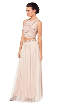 Sistaglam Beaded Cream Anna Crop Top
