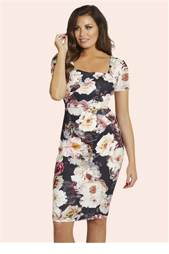 Jessica Wright Elsa White Floral Multi Midi Dress