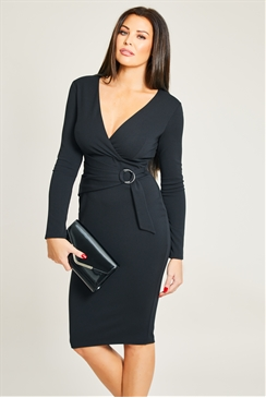 Jessica Wright Duda Black Long Sleeve Ring Belt Detail Bodycon Dress