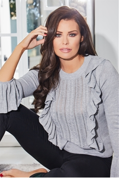 Jessica Wright Marcia Grey Jumper With Frill Detail