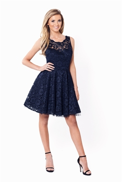 Sistaglam Tish All Over Lace Navy Prom Dress