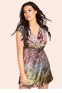 Sistaglam Loves Jessica Wright Devinee multi sequin rainbow kimono short dress