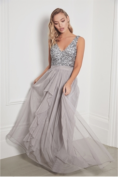 Sistaglam Yasmin grey sleeveless embroided bodice chiffon maxi
