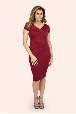 Jessica Wright Betty Berry V-neck Pleated Bodycon Dress