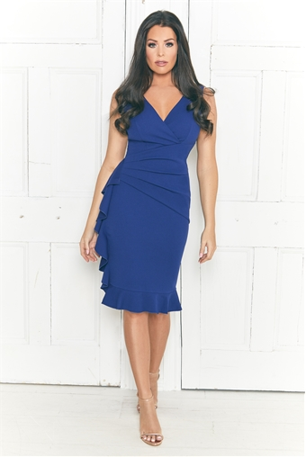 Jessica Wright Tamar Navy V Neck Wrap Ruched Side Hem