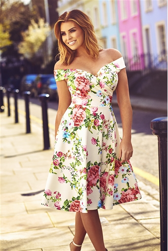 Jessica Wright Jessica Cream Floral Bardot Skater Dress