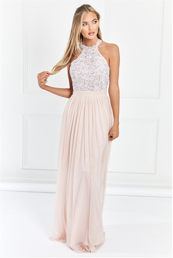 Sistaglam Selena Blush Pink Chiffon And Sequin Maxi Dress