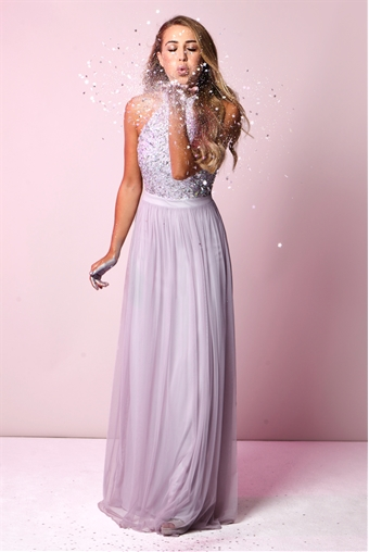 Sistaglam Selena Lilac Purple Chiffon And Sequin Maxi Dress