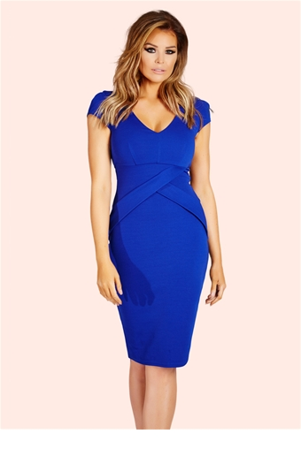 Jessica Wright Alissa Cobalt Structured Pleat Midi Dress