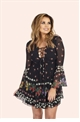Jessica Wright Daisy Black Floral Print Lace-Up Detail Shift Dress