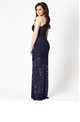 Jessica Wright Angela navy one shoulder maxi dress