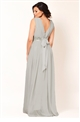 Jessica Wright Abrianna Grey Chiffon V-Neck Maxi Bridesmaid Dress