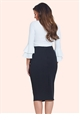 Jessica Wright Lotty Black Ruffle Pencil Skirt