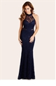 Jess Wright Sandy Navy Sequin Halter Celebrity Inspired Maxi Dress