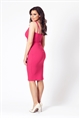 Jessica Wright Flossie Pink Low V-Neck Thin Strap Bodycon Dress