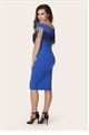 JESSICA WRIGHT RIA BLUE OFF SHOULDER  FRINGE BODYCON DRESS