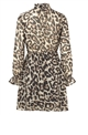Sistaglam Loves Jessica Wright Ikon Brown multi animal print skater dress with button and tie detail