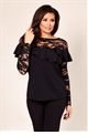 Phoebe Black Lace and Frill Detail Top