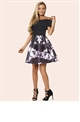 Sistaglam Satya Black Lace Off The Shoulder Top With Floral Print Skater Skirt