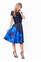 SISTAGLAM  CHRISI SATIN PROM SKIRT WITH LARGE FLORAL PRINT