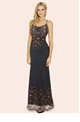 Sistaglam Maya Black Embroidered Mesh Cami Strap Maxi Dress