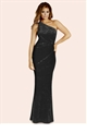 Jessica Wright Aleeca Black Velvet One Shoulder Maxi Dress