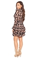 Sistaglam Loves Jessica Wright Geraldina black multi chiffon ruffle skirt dress with tie neck and long sleeves