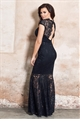 Jessica Wright Petite Alexus Black Lace Keyhole Maxi Dress With Scallop Detail