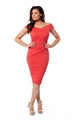 Jessica Wright Vinnie Coral Bardot Bodycon Midi Dress