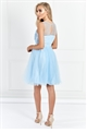 Sistaglam Lovie Baby Blue Mesh Embroidered Lace Skater Prom Dress